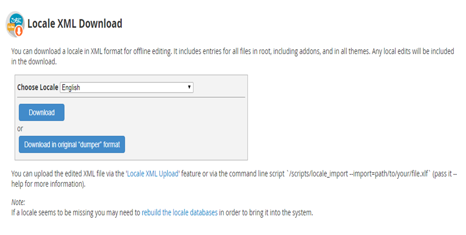 How a Locale can be Downloaded and Uploaded in XML Format