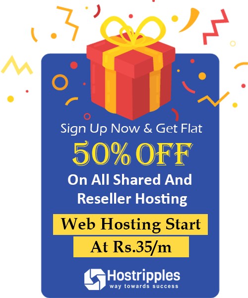 Sign Up Now and get flat 50% off on all shared and reseller hosting